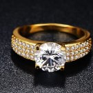 18K Gold Color Women's Ring . 925 Sterling Silver Ring With Gold Plating