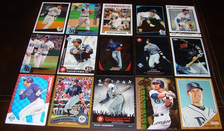 Evan Longoria 25 Different Baseball Cards Lot Tampa Bay Rays