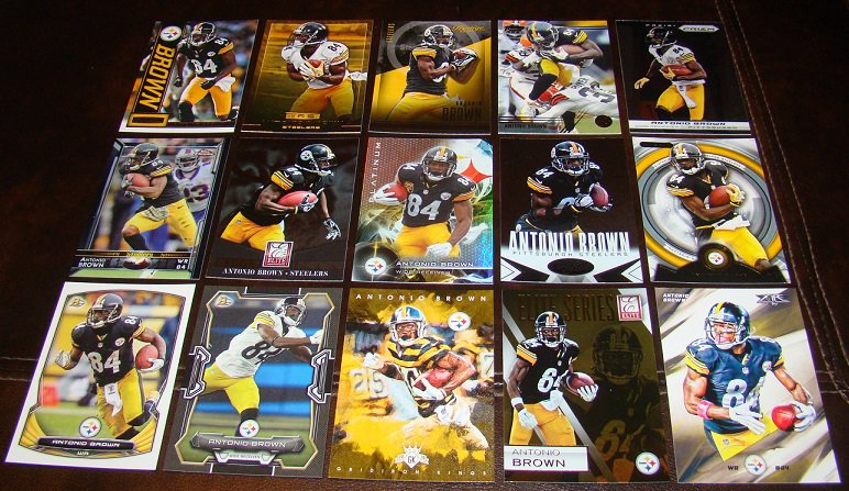 Antonio Brown 25 Different Football Cards Lot Pittsburgh Steelers