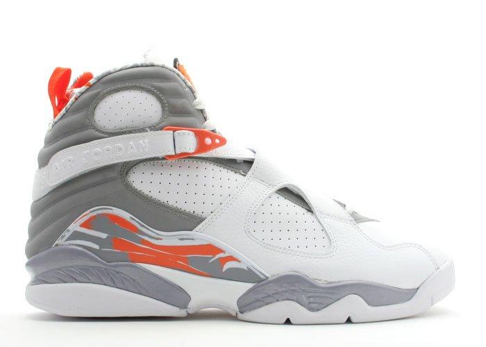 Air Jordan 8  -  white/stealth-orange blaze-silver