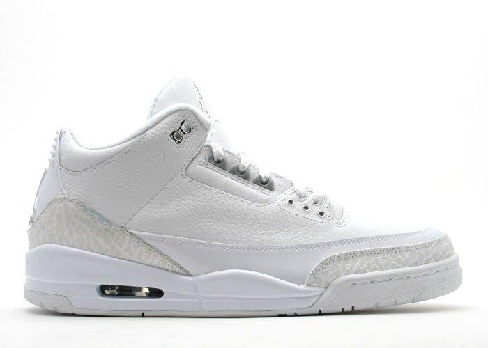 "Air Jordan 3  -  ""pure""  white/metallic silver"