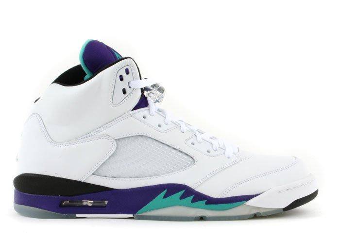 Air Jordan 5 - white/emerald green-grape ice