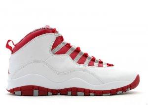 Air Jordan 10 - white/varsity red-light steel grey
