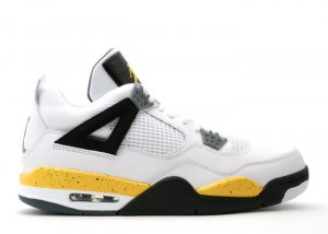 Air Jordan 4 - white/tour yellow-dark blue grey-black