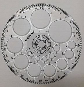Full circle protractor diameter 11 cm 360 degree with 16 size circle template