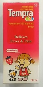 Tempra Kids Paracetamol 120 mg/5 ml Syrup Aspirin /  Alcohol Free Relieve fever
