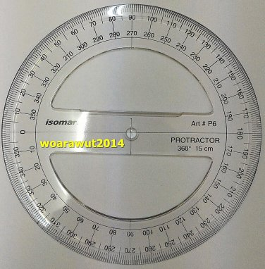 Isomars Full circle Plastic transparent protractor diameter 15 cm 360 degree