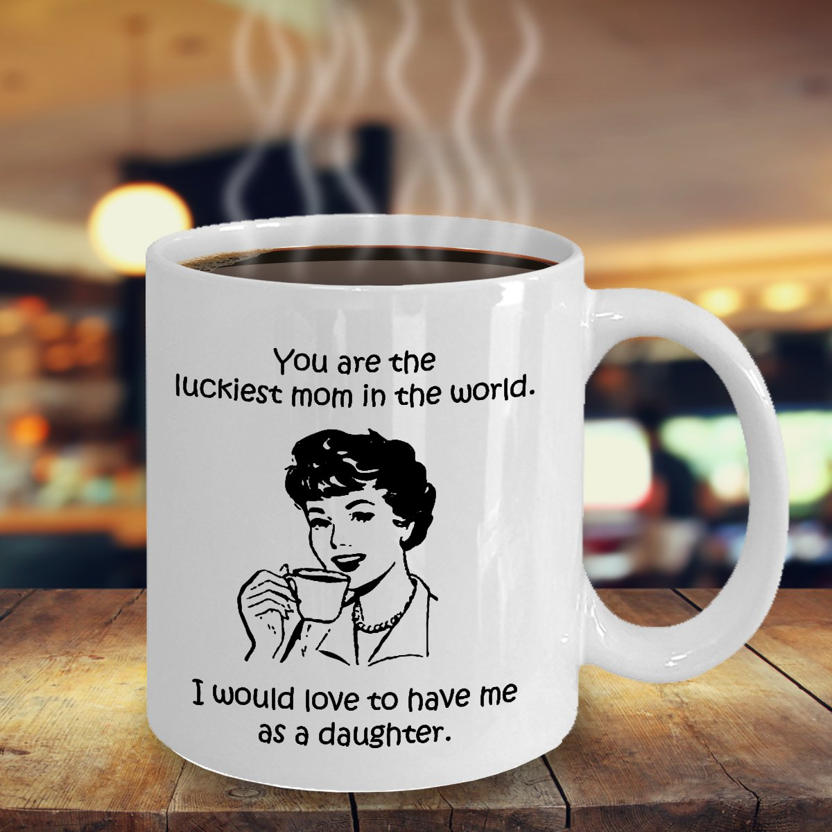 TeesCloset Funny Mother's Day Gift - Funny Mother's Day Mugs - Luckiest Mom (11oz)
