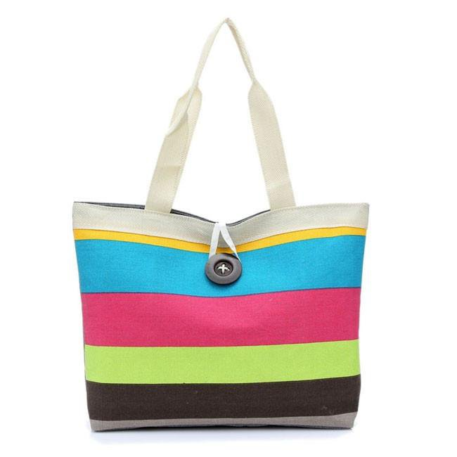 Summer Outfits Colorful Striped Canvas Shoulderbag