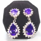 CZ heart shape purple and drops of silver 925 earrings are a gift for your loved ones.