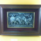 Art Craft Rare Carved relief made of embossed aluminum plated elephant family.