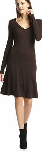 Cashmere Addiction Women's Long Sleeve V-Neck Dress, Chocolate, M