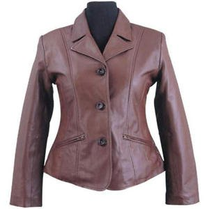 Billy Austins Ladies Fashion 3 Button Brown Leather Coat- Size Small thru 4X