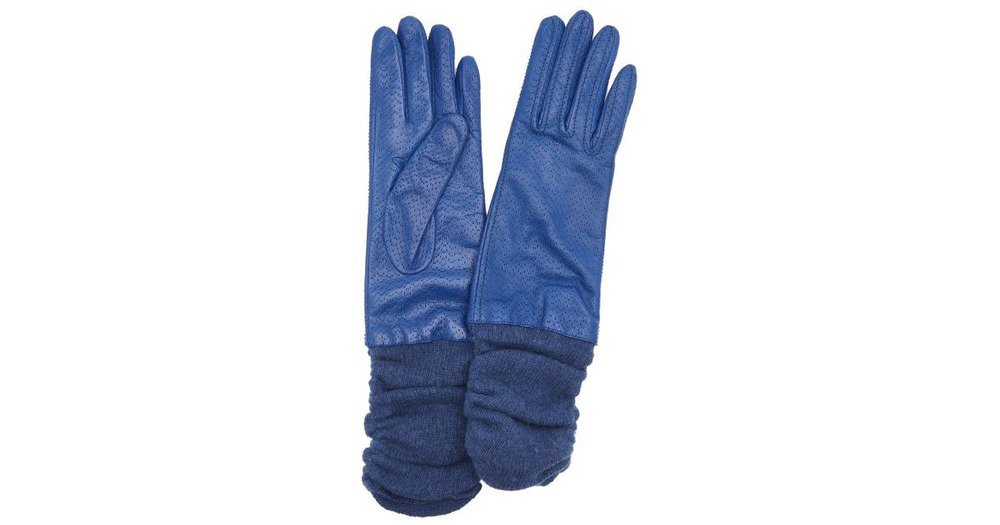 Portolano Women's Leather Glove with Ribbed Cuff, Denim Blue, 7 M US