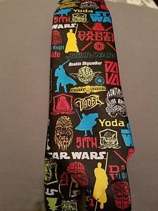 New Star Wars Lucas film Men's neck tie Pop Stickers Black Hans Luke