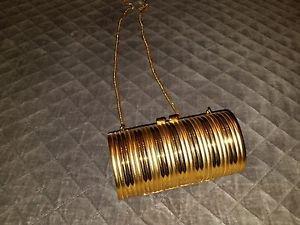 Unique Vintage Gold Purse*Clutch*Handbag Evening Deco/Funky Retro