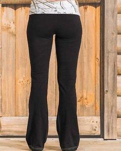 Yukon Gear Women's Lounge Pant, Black with Mossy Oak Snowdrift, Small