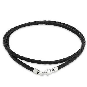 Bling Jewelry 3mm Black Braided Leather Cord Chain Necklace Silver Plated 16in