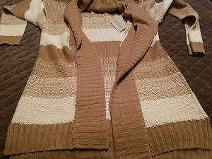 Jason Maxwell Women's Long Sleeve Hi-Lo Tuck Stitch Striped Cardigan,  Small