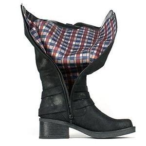 White Mountain Gypsum Women  Round Toe Canvas  Knee High Boot Black 6 1/2