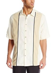 Cubavera Men's Big-Tall Short Sleeve Twill Piped Panel Shirt with Insert