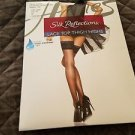 Women's Lingerie Hanes Silk Reflections Lace Top Thigh Highs - Jet