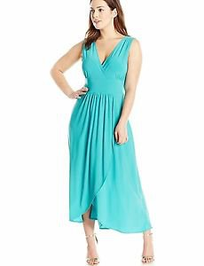 Star Vixen Women's Sleeveless Surplice Tulip Skirt Empire Band Maxi Dress, Jade