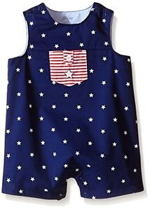 Little Me Baby Stars Sunsuit, Navy, 3 Months