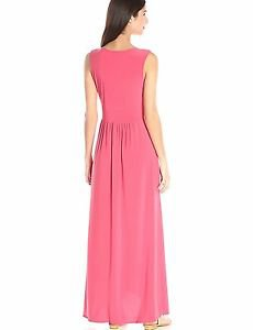 Star Vixen Women's Sleeveless Surplice Tulip Skirt Empire Band Maxi Dress, Coral