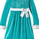Bonnie Jean Little Girls' Sequin Bodice Santa Dress, Aqua, Size 5