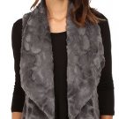 Jack by BB Dakota Women's Cordova Swirly Textured Faux Fur Vest, Dark CharcoalXS
