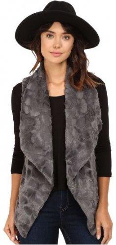 Jack by BB Dakota Women's Cordova Swirly Textured Faux Fur Vest, Dark CharcoalXS