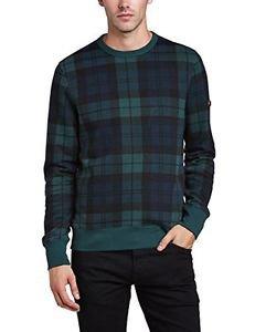 Ben Sherman Men's Print Crew Neck Blackwatch Sweatshirt, Pine Grove XXL