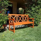 5-Foot Outdoor Eucalyptus Wood Bench X-Back Design