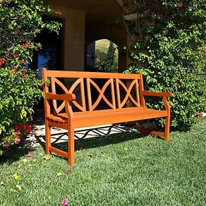 5-Foot Outdoor Eucalyptus Wood Bench X-Back Design