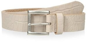 Thirty Five Kent Men's Embossed Croc Casual Belt, Ivory, 40 US