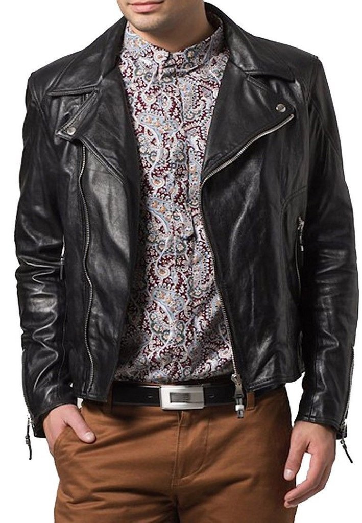 leather jacket motorcycle mens real lambskin black biker slim fit S M L BJ1002