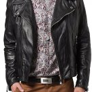 leather jacket motorcycle mens real lambskin black biker slim fit S M L BJ1002