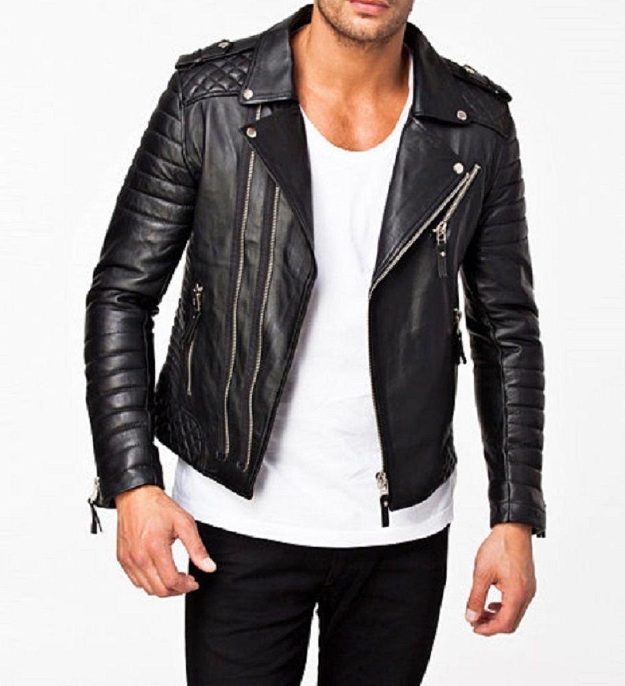 leather jacket motorcycle mens real lambskin black biker slim fit S M L BJ1003