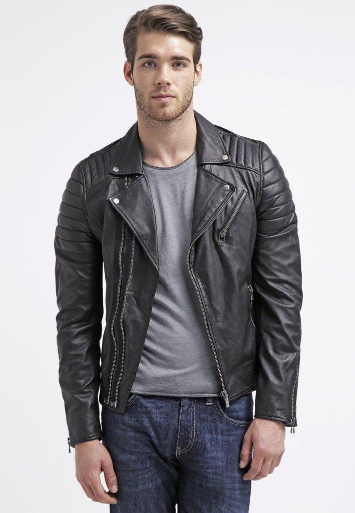 leather jacket motorcycle mens real lambskin black biker slim fit S M L BJ1004
