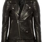 leather jacket motorcycle womans real lambskin black biker slimfit S M L BJ1007