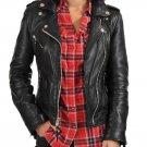 leather jacket motorcycle womans real lambskin black biker slimfit S M L BJ1008