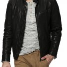 leather jacket motorcycle mens real lambskin black biker slim fit S M L BJ1011