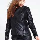 leather jacket motorcycle womans real lambskin black biker slimfit S M L BJ1012