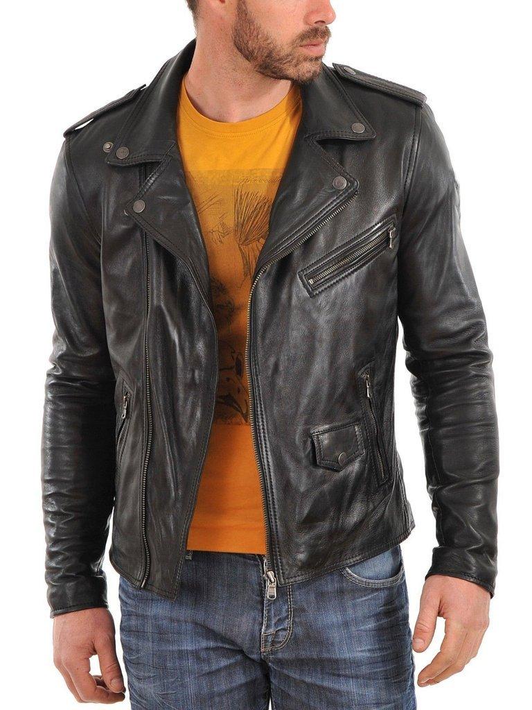 leather jacket motorcycle mens real lambskin black biker slim fit S M L BJ1013