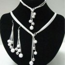 925 Sterling Silver  Fashion Jewelry Set Necklace & Earrings & Bracelet.