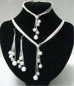 925 Sterling Silver  Fashion Jewelry Set Necklace & Earrings & Bracelet.
