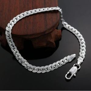 925 Sterling Silver Fashion Jewelry 5mm Curb Chain Bracelet 8 in.