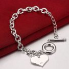 NEW! 925  Sterling Silver Fashion Jewelry Heart Charm Bracelet.