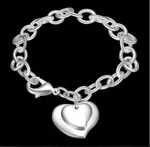 925 Sterling Silver Fashion Jewelry Two Hearts Bracelet 8 in.